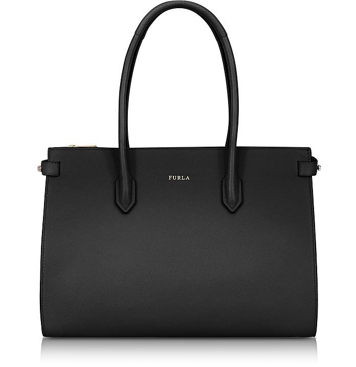 Onyx Leather Pin Medium E/W Tote Bag  - Furla