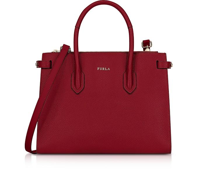 Cherry Leather Pin Small E/W Tote Bag - Furla