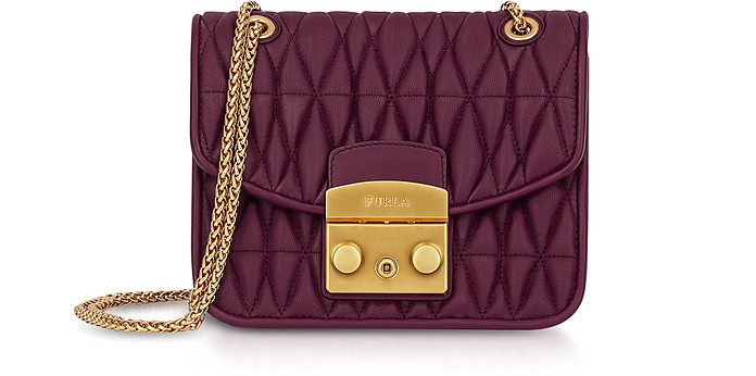 Cherry Red Quilted Nappa Metropolis Cometa Mini Crossbody Bag w/Chain Strap - Furla