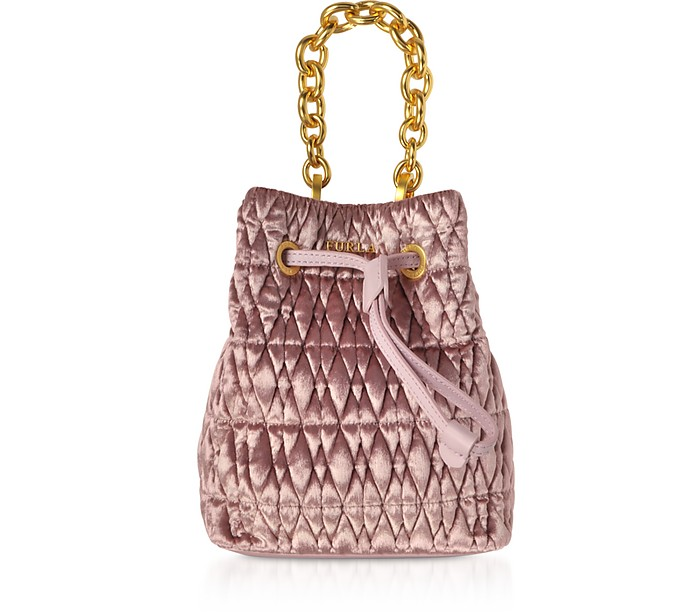 Quilted Velvet Stacy Cometa Mini Drawstring Bucket Bag - Furla