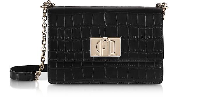 Black Croco Embossed Leather 1927 Mini Crossbody Bag 20 - Furla