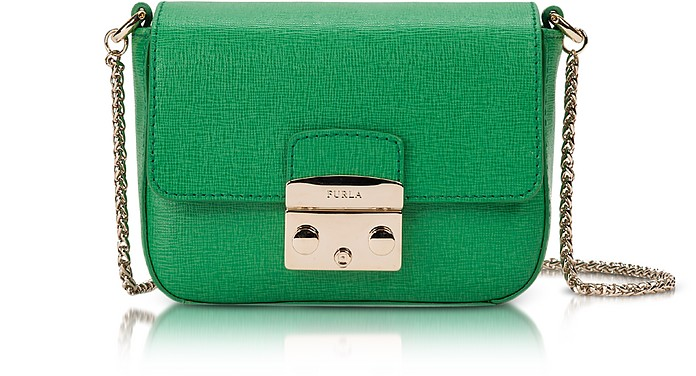 4fdfe8e5c1d7cb Furla Emerald Green Metropolis Saffiano Leather Mini Crossbody Bag w ...