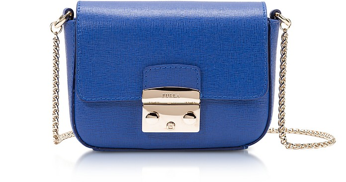 59680fdc78 Furla Ocean Blue Metropolis Saffiano Leather Mini Crossbody Bag w ...