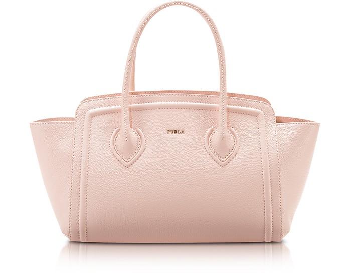 College Magnolia Pink Leather Medium Tote Bag - Furla