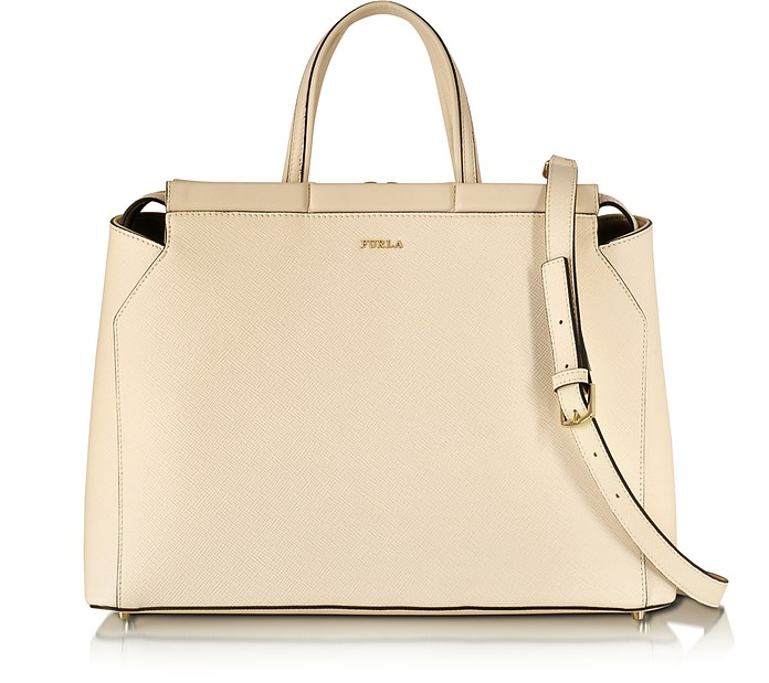 Large Talia Conchiglia Saffiano Leather Satchel - Furla