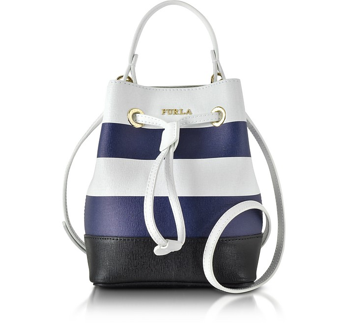 Stacy Chalk & Navy Blue Striped Leather Bucket Bag - Furla