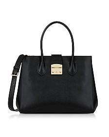 Black Leather Metropolis L Tote Bag - Furla