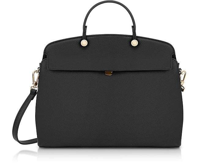 Onyx Leather My Piper Medium Satchel Bag - Furla