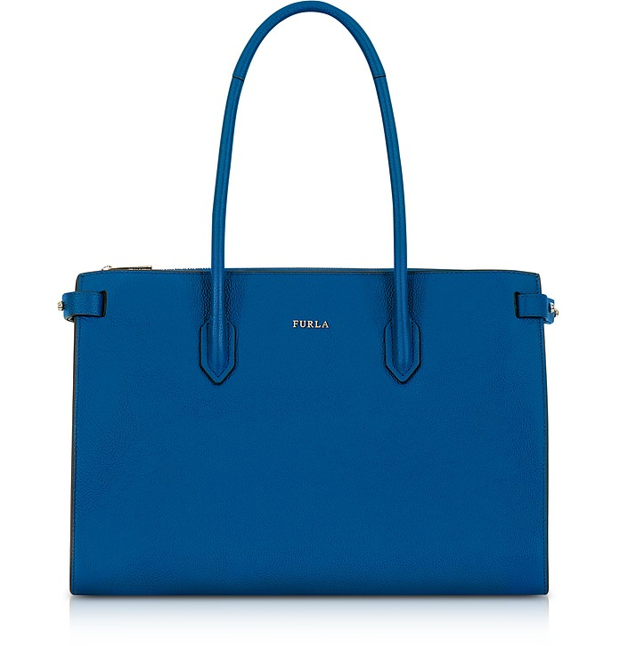 Peacock Blue Leather E/W Pin Medium Tote Bag - Furla