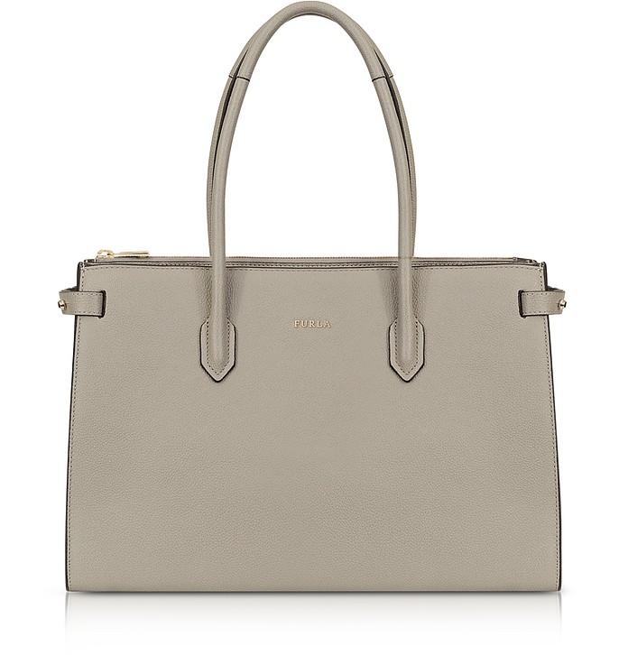 Sand Leather E/W Pin Medium Tote Bag - Furla