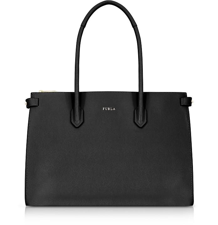 Black Leather E/W Pin Medium Tote Bag - Furla