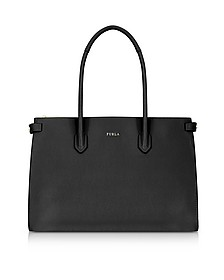Black Leather E/W Pin Medium Tote Bag - Furla