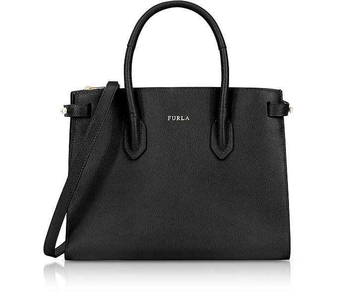 Onyx Leather E/W Pin Small Tote Bag - Furla
