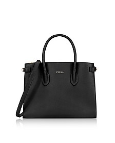 Onyx Leather E/W Pin Small Tote Bag - Furla