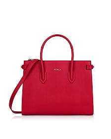 Ruby Leather E/W Pin Small Tote Bag - Furla