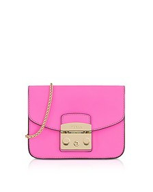 Fuchsia Leather Metropolis Mini Crossbody Bag - Furla
