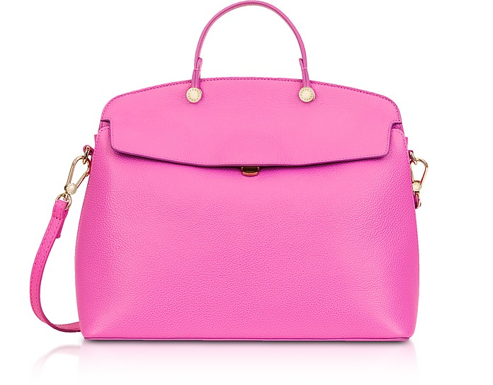 Fuchsia Leather My Piper Medium Top Handle Satchel Bag - Furla