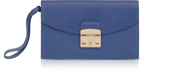 Peacock Blue Leather Metropolis Envelope Clutch - Furla