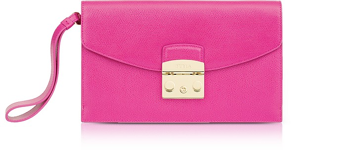 Fuchsia Leather Metropolis Envelope Clutch - Furla