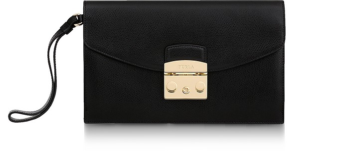 Black Leather Metropolis Envelope Clutch - Furla
