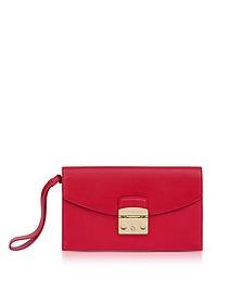 Ruby Leather Metropolis Envelope Clutch - Furla
