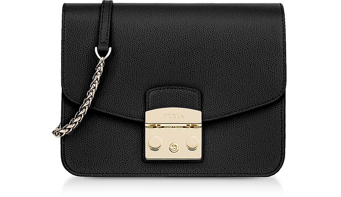 Onyx Leather Metropolis Small Crossbody - Furla