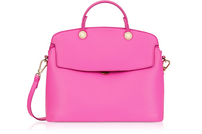 Fuchsia Leather My Piper Small Satchel Bag - Furla