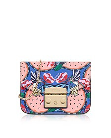 Toni Rose Quartz Anguria Printed Leather Metropolis Mini Crossbody Bag - Furla