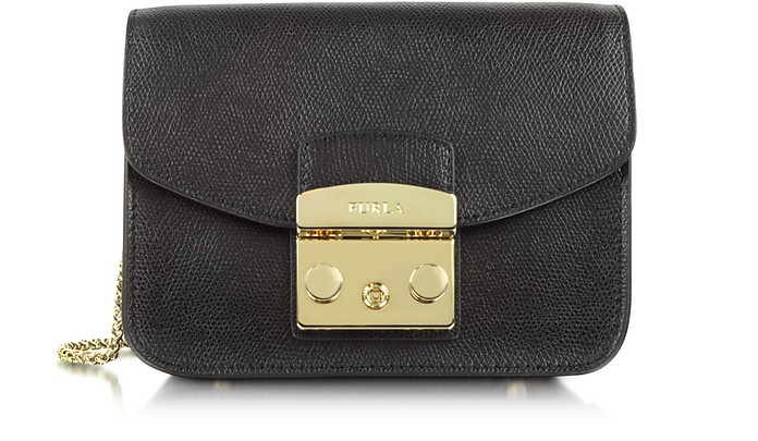 Mini Metropolis Leather Crossbody Bag - Black