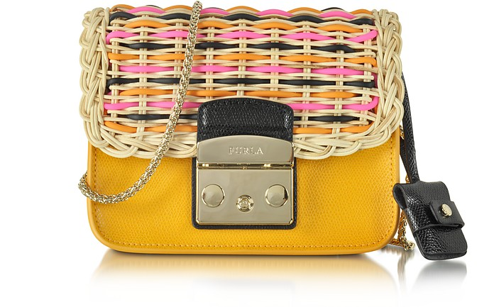 Metropolis Diva Giallo Leather & Wicker Mini Crossbody Bag - Furla