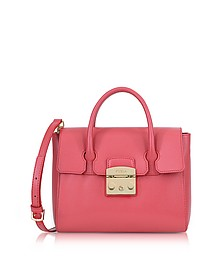 Rose Grained Leather Metropolis Small Satchel Bag - Furla