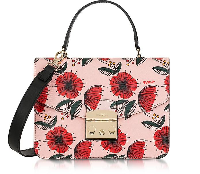 Floral Printed Moonstone Leather Metropolis S Top Handle Bag - Furla