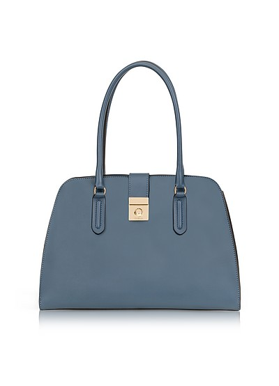 Avio Scuro Milano Medium Leather Tote Bag - Furla