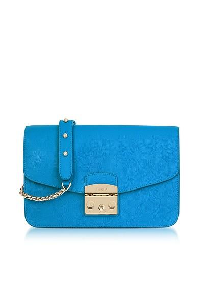 Cerulean Blue Metropolis Small Shoulder Bag - Furla