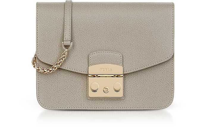 Sand Lizard Printed Leather Metropolis Small Crossbody Bag  - Furla