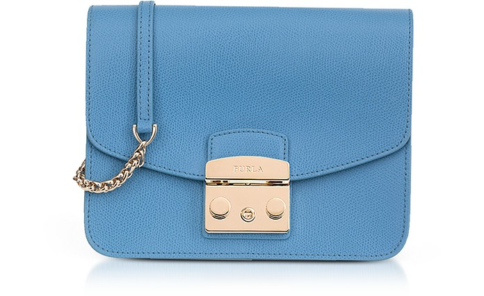 Veronica Blue Lizard Printed Leather Metropolis Small Crossbody Bag  - Furla