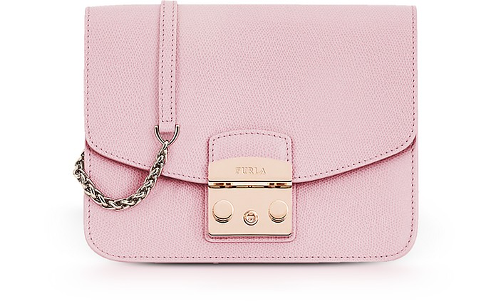 Camelia Pink Lizard Printed Leather Metropolis Small Crossbody Bag  - Furla