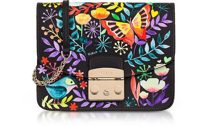 Giardino Notturno Lizard Printed Leather Metropolis Small Crossbody Bag - Furla