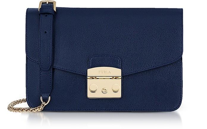 Deep Blue Lizard Printed Leather Metropolis Small Shoulder Bag - Furla