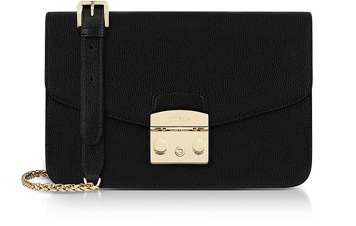 Onyx Lizard Printed Leather Metropolis Small Shoulder Bag in Black