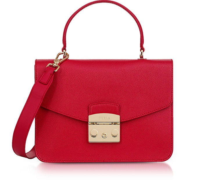 Ruby Red Lizard Printed Leather Metropolis Small Top-Handle Shoulder Bag - Furla