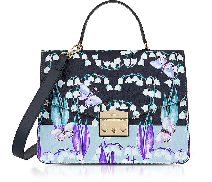 Campanelle Print Blue Leather Metropolis Medium Top Handle Satchel Bag - Furla