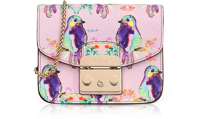 Cardellino Printed Camelia Leather Metropolis Mini Crossbody Bag - Furla
