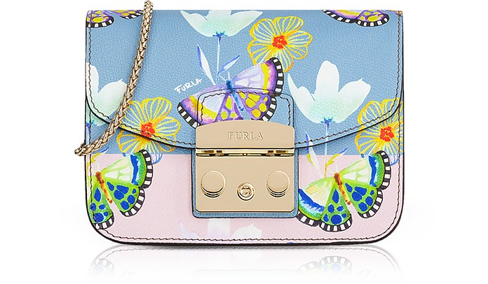 Butterfly Printed Veronica Leather Metropolis Mini Crossbody Bag - Furla