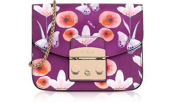 Butterfly Printed Bouganville Leather Metropolis Mini Crossbody Bag - Furla