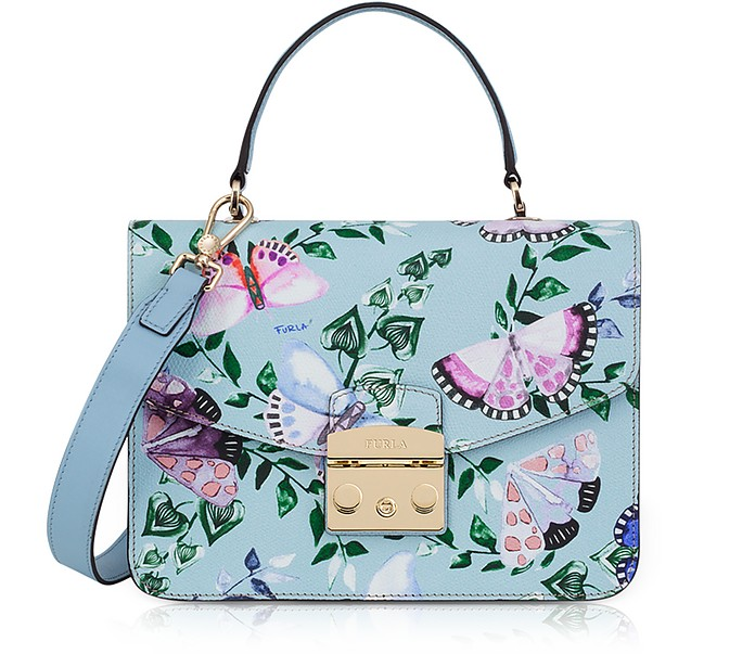 Butterfly Printed Fiordaliso Leather Metropolis Small Top-Handle Shoulder Bag - Furla