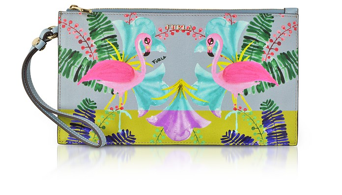 Flamingo Printed Toni Fiordaliso Saffiano Leather Babylon Xl Envelope Clutch, Blue