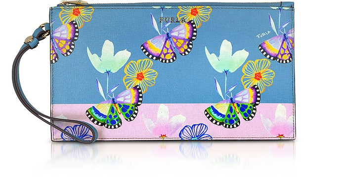 Butterfly Printed Toni Veronica Saffiano Leather Babylon XL Envelope Clutch - Furla