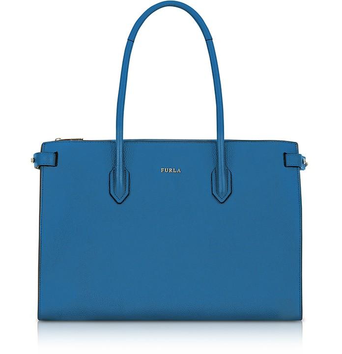 Genziana Blue Leather E/W Pin Medium Tote Bag  - Furla
