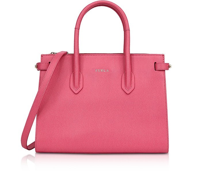 Pin Small Shopping Bag in Pink Hydrangea Leather - Furla